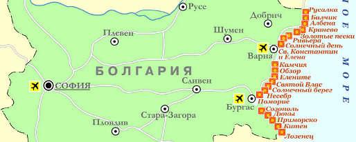 Туры в Болгарию. Карта Болгарии