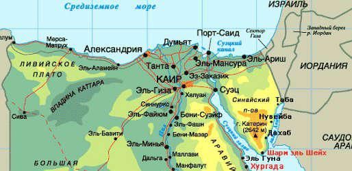 Туры в Египет. Карта Египта