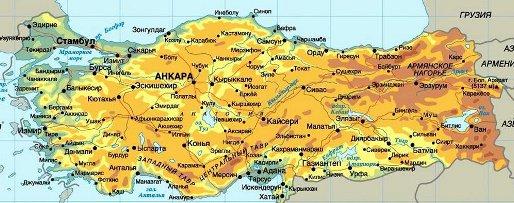 Туры в Турцию. Карта Турции