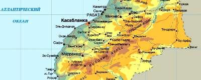 Туры в Марокко. Карта Марокко