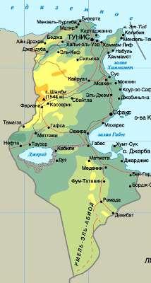 Туры в Тунис. Карта Туниса