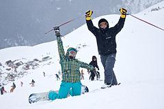 Катание на лыжах. Домбай
